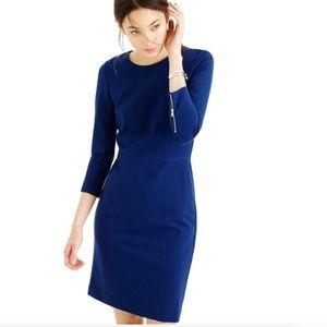 NWT J crew Blue Structured Stretch work dress